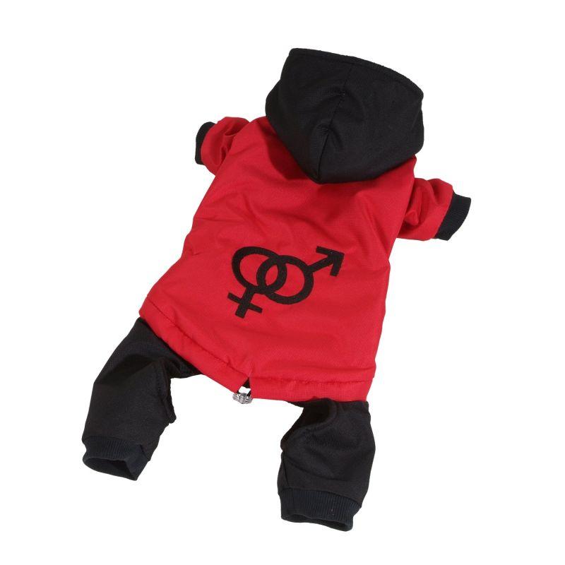 Kombinéza odepínatelné nohavice - červená S I love pets