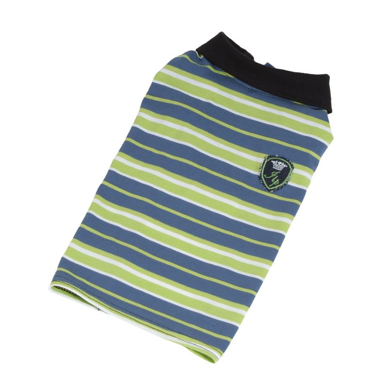 Tričko pruhované s erbem (doprodej skladových zásob) - zelená/modrá XXS I love pets