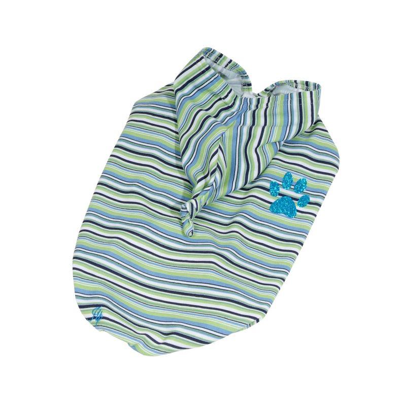Tričko pruhované s kapucí - zelená (doprodej skladových zásob) L I love pets