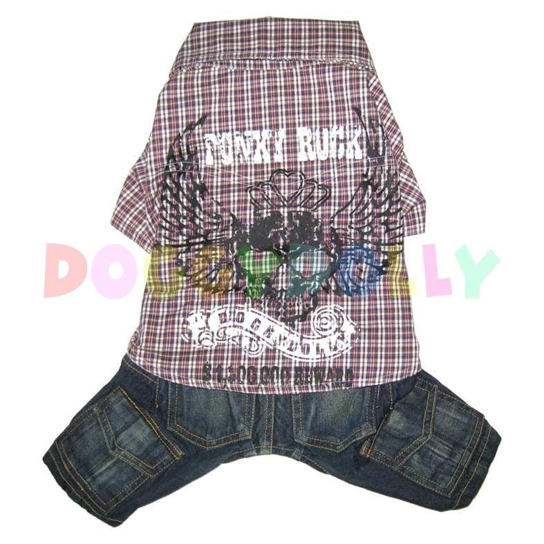 Kalhoty s košilí Doggydolly Punky hnědá S