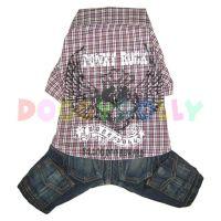 Kalhoty s košilí Doggydolly Punky hnědá XXS