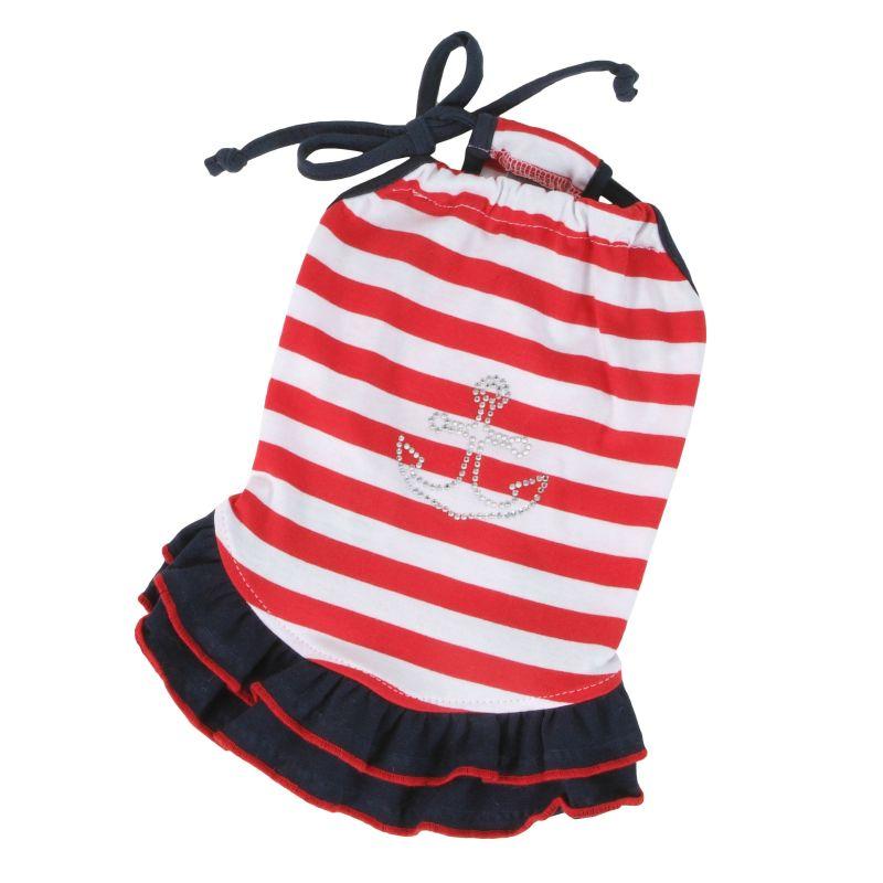 Šaty námořnické - červený proužek L I love pets