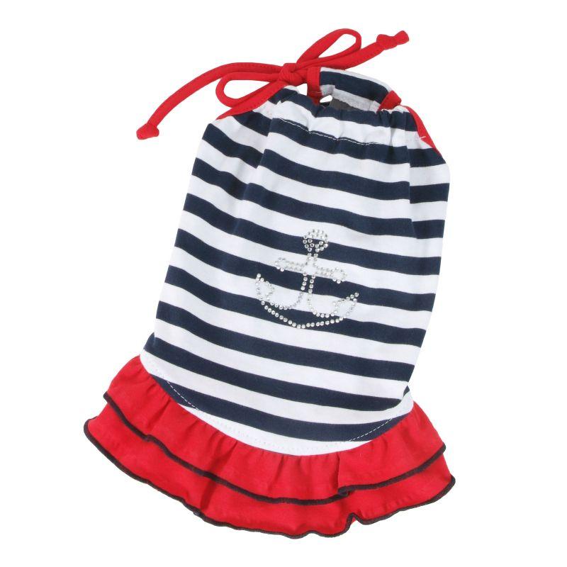 Šaty námořnické - modrý proužek L I love pets