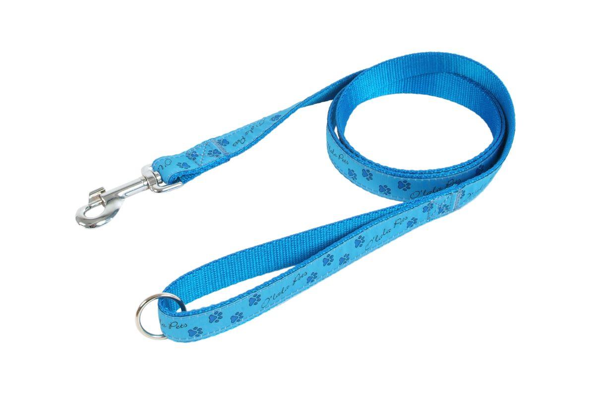 Vodítko TLAPKY 25 mm x 150 cm modrá I love pets