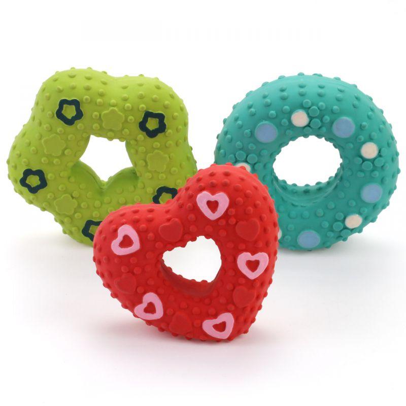 Pískací latexová hračka pro psa – donut I love pets - import