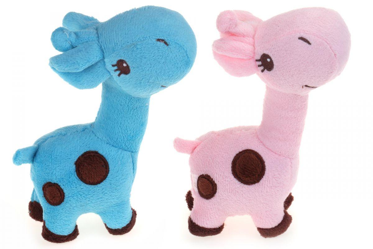 Pískací plyšová hračka pro psa – žirafa s puntíky I love pets - import